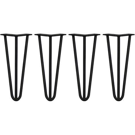SKISKI LEGS - 4 Patas de Horquilla para Mesa SkiSki Legs 30,5cm Acero Negro 3 Dientes 12mm