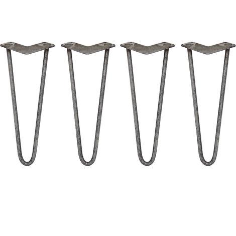 SKISKI LEGS - 4 Patas de Horquilla para Mesa SkiSki Legs 35,5cm Acero Natural 2 Dientes 12mm