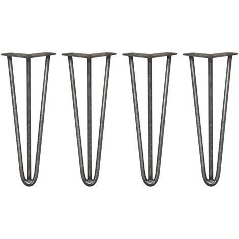 SKISKI LEGS - 4 Patas de Horquilla para Mesa SkiSki Legs 35,5cm Acero Natural 3 Dientes 12mm