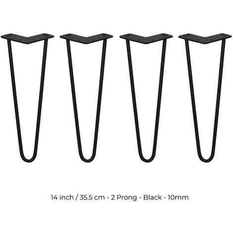 SKISKI LEGS - 4 Patas de Horquilla para Mesa SkiSki Legs 35,5cm Acero Negro 2 Dientes 10mm