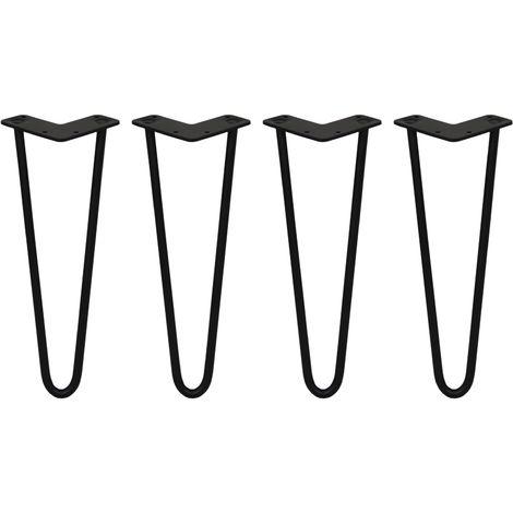 SKISKI LEGS - 4 Patas de Horquilla para Mesa SkiSki Legs 35,5cm Acero Negro 2 Dientes 12mm