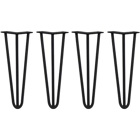SKISKI LEGS - 4 Patas de Horquilla para Mesa SkiSki Legs 35,5cm Acero Negro 3 Dientes 12mm