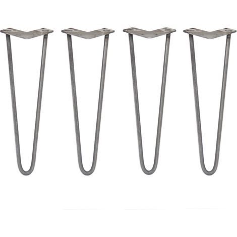 SKISKI LEGS - 4 Patas de Horquilla para Mesa SkiSki Legs 40,6cm Acero Natural 2 Dientes 12mm