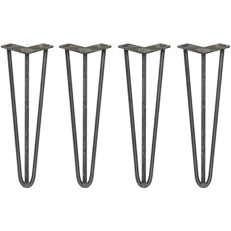 SKISKI LEGS - 4 Patas de Horquilla para Mesa SkiSki Legs 40,6cm Acero Natural 3 Dientes 12mm