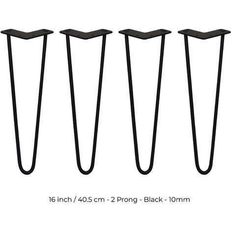 SKISKI LEGS - 4 Patas de Horquilla para Mesa SkiSki Legs 40,6cm Acero Negro 2 Dientes 10mm