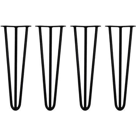 SKISKI LEGS - 4 Patas de Horquilla para Mesa SkiSki Legs 40,6cm Acero Negro 3 Dientes 12mm