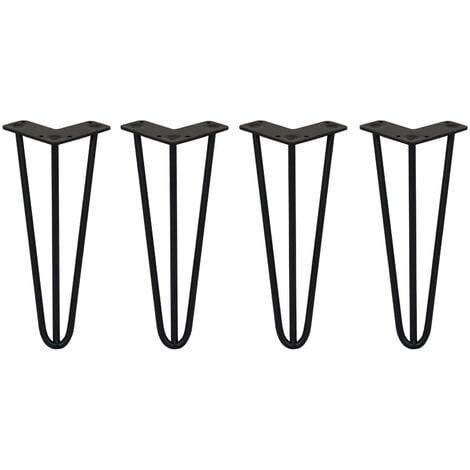 SKISKI LEGS - 4 Pieds de Table en Épingle à Cheveux 30,5cm 3 Tiges en Acier Noir Épaisseur 10mm - Noir