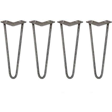 SKISKI LEGS - 4 Pieds de Table en Épingle à Cheveux 35,5cm 2 Tiges en Acier Couleur Naturelle Épaisseur 12mm - Metallic