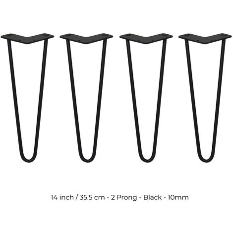SKISKI LEGS - 4 Pieds de Table en Épingle à Cheveux 35,5cm 2 Tiges en Acier Noir Épaisseur 10mm - Noir