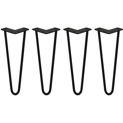 SKISKI LEGS - 4 Pieds de Table en Épingle à Cheveux 35,5cm 2 Tiges en Acier Noir Épaisseur 12mm