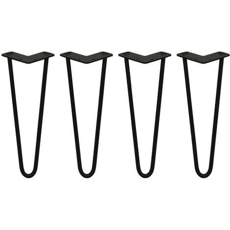 SKISKI LEGS - 4 Pieds de Table en Épingle à Cheveux 35,5cm 2 Tiges en Acier Noir Épaisseur 12mm - Noir