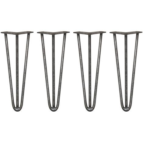 SKISKI LEGS - 4 Pieds de Table en Épingle à Cheveux 35,5cm 3 Tiges en Acier Couleur Naturelle Épaisseur 12mm - Metallic
