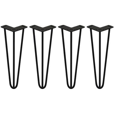 SKISKI LEGS - 4 Pieds de Table en Épingle à Cheveux 35,5cm 3 Tiges en Acier Noir Épaisseur 10mm - Noir