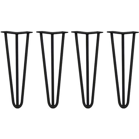 SKISKI LEGS - 4 Pieds de Table en Épingle à Cheveux 35,5cm 3 Tiges en Acier Noir Épaisseur 12mm - Noir