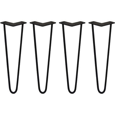 SKISKI LEGS - 4 Pieds de Table en Épingle à Cheveux 40,6cm 2 Tiges en Acier Noir Épaisseur 10mm - Noir