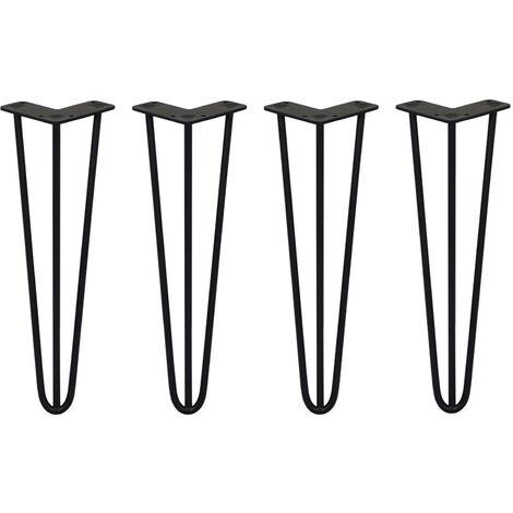 SKISKI LEGS - 4 Pieds de Table en Épingle à Cheveux 40,6cm 3 Tiges en Acier Noir Épaisseur 10mm - Noir