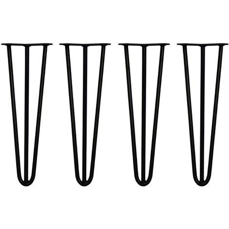 SKISKI LEGS - 4 Pieds de Table en Épingle à Cheveux 40,6cm 3 Tiges en Acier Noir Épaisseur 12mm - Noir