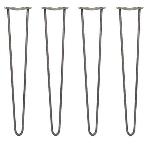 SKISKI LEGS - 4 Pieds de Table en Épingle à Cheveux 71cm 2 Tiges en Acier Brut Épaisseur 12mm
