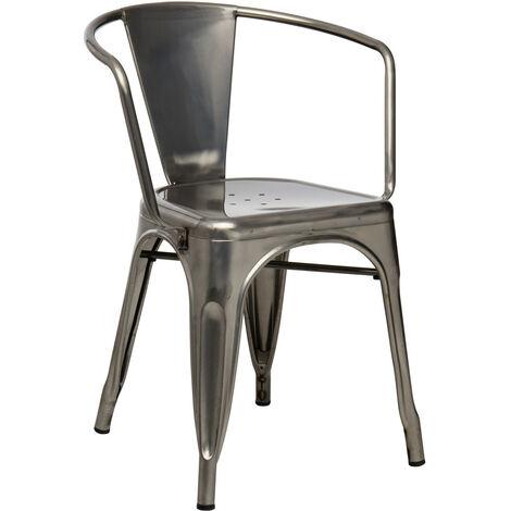 SKLUM Chaise avec accoudoirs LIX Brossée Acier Acier - Acier