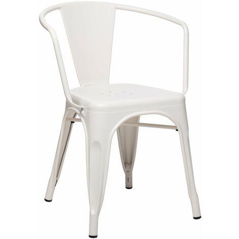 SKLUM - Chaise avec accoudoirs LIX Mate Beige Crème Acier