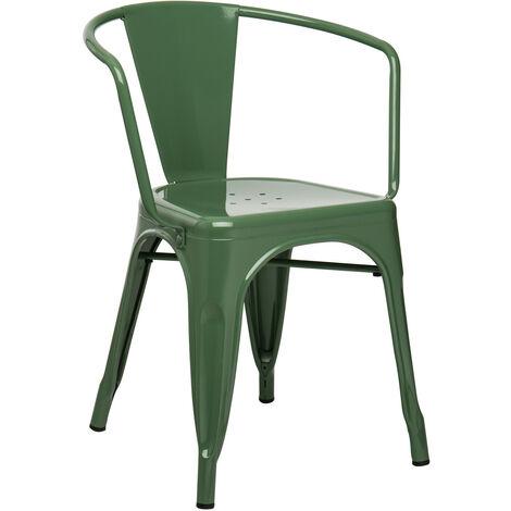 SKLUM  Chaise avec accoudoirs LIX Vert Choux Acier       - Verde Col