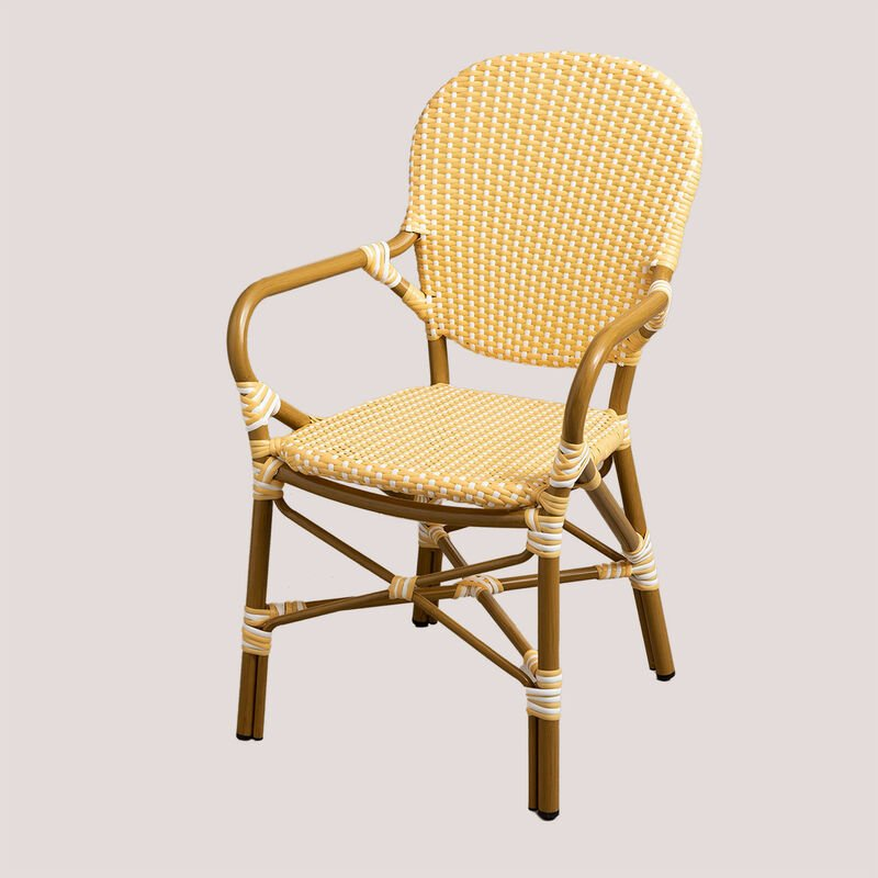 Chaise de jardin en osier synthétique Alisa SKLUM Osier PE - Aluminium - Jaune vanille