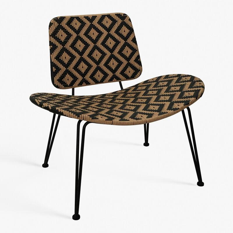 Chaise longue de jardin en osier synthétique Corvik Polyéthylène - NATUREL - Sklum