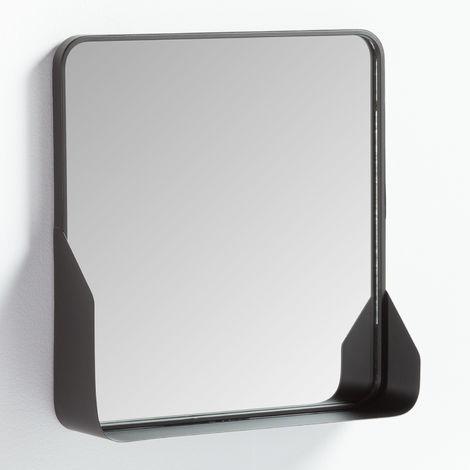 SKLUM Espejo de Pared Cuadrado con Balda en Metal (51x51 cm) Arso Hierro Negro