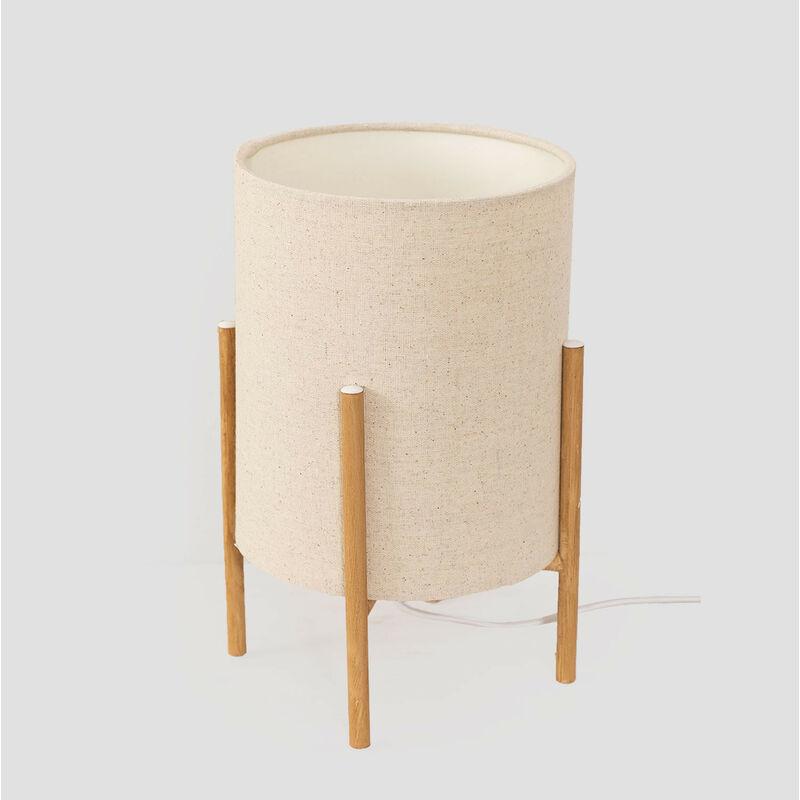 Lampada da tavolo in tessuto Saek Beige Crema Tessuto - Legno - Sklum