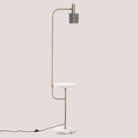 SKLUM Lámpara de Pie con Mesa Águeda Mármol - Latón - Celadón