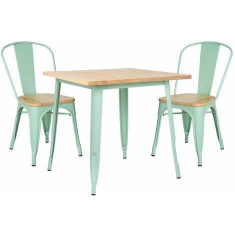 SKLUM Lot de Table LIX Bois (80x80) & 2 Chaises LIX Bois