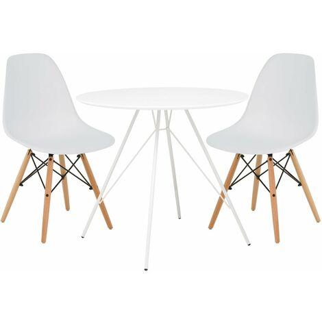 SKLUM Lot de Table Yäh Métal & 2 chaises Brich Scand