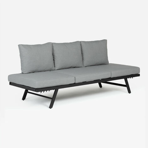 SKLUM Sofá de exterior reclinable Libanc Poliéster Negro