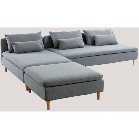 SKLUM Sofá Modular Chaise Longue de 3 Plazas con Puff Javir