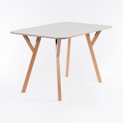 SKLUM - Table Nêro Blanc Bois - Blanc