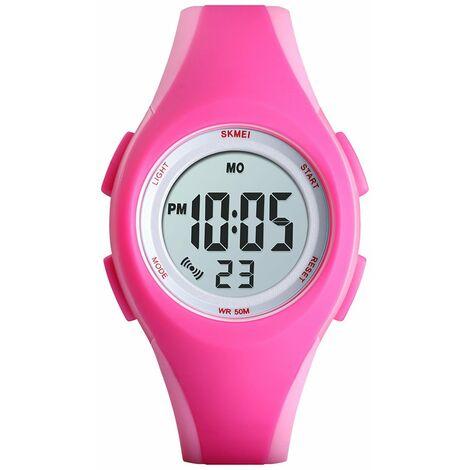 SKMEI 1459 50m montre de sport ¨¦lectronique ¨¦tanche pour enfants et adolescents, r¨¦veil / date / semaine / bracelet en PU lumineux