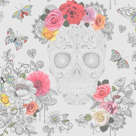 Skull Flower Floral Wallpaper Butterflies Art Modern Hearts Roses Funky Rasch