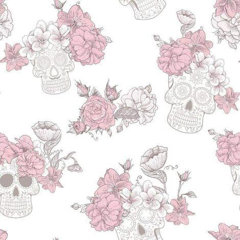 Skull Roses Flower Floral Wallpaper Textured Glitter Shiny Grey Pink Debona - 8995