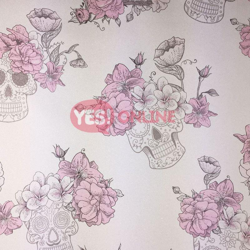 Image of Skull Roses Flower Floral Wallpaper Textured Glitter Shiny Grey Pink Debona