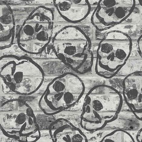 Skull Wall Grey Black Wallpaper Kids Teenager Industrial Brick Effect