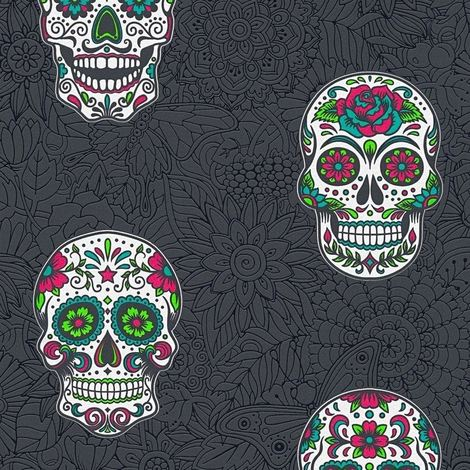 Skull Wallpaper Gothic Floral Black & Multicoloured Textured Vinyl AS Creation