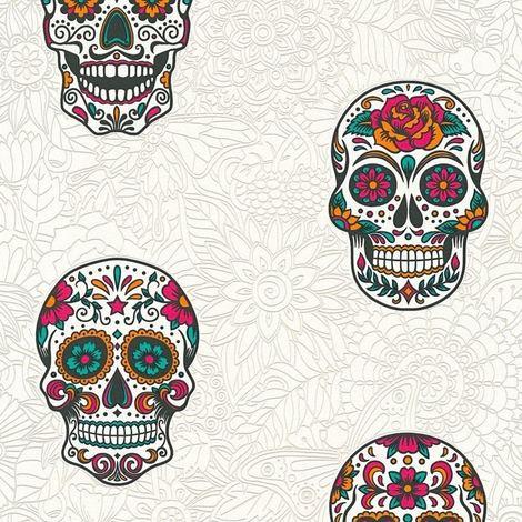Skull Wallpaper Gothic Floral White & Multicoloured Textured Vinyl AS Creation