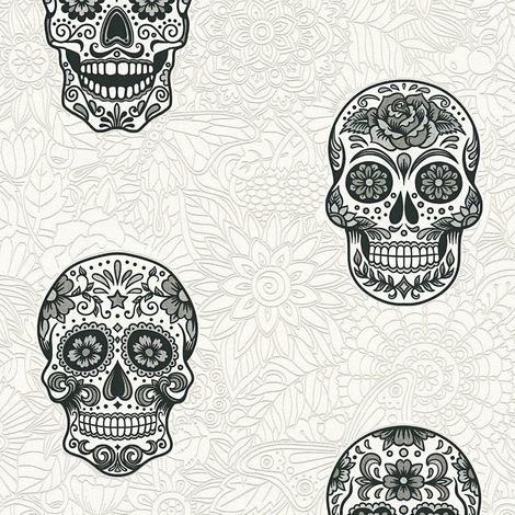 Skull Wallpaper Gothic Floral White Silver Black Textured Vinyl AS Creation