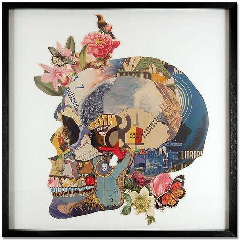 Skull with flowers cm 90x90x4 Artedalmondo SA042A1