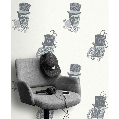 Skulls Wallpaper Glitter Effect Sparkle Metallic Textured Vinyl 3 Colours Rasch