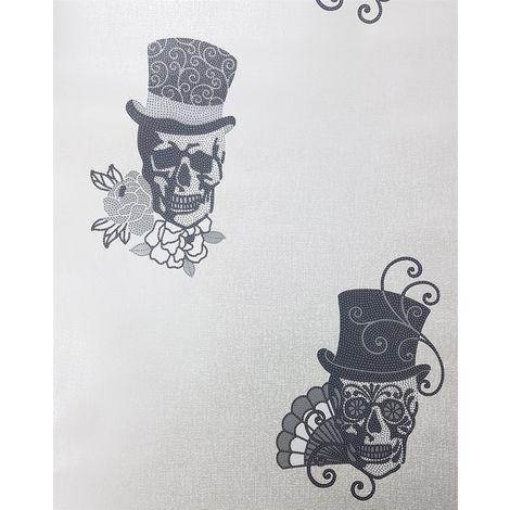 Skulls Wallpaper Glitter Effect Sparkle Metallic Textured Vinyl 3 Colours Rasch