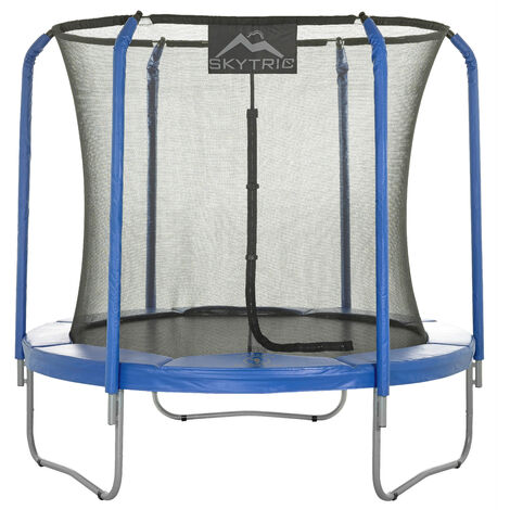 Skytric Large Trampoline with Top Ring Enclosure Set Equipped with Easy Assembly Feature | Garden & Outdoor Trampoline with Safety Enclosure Net | Ultra Durable Foam Mat and Safety Pads