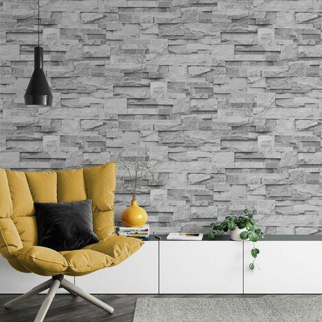 Slate Grey Realistic Stone Brick Wall Effect Textured