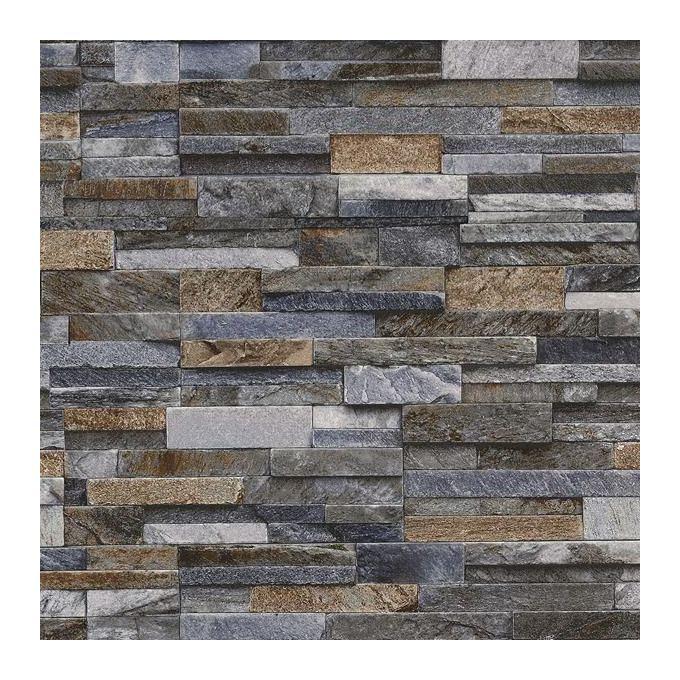Slate Stone Brick Effect Wallpaper 3d Vinyl Textured Grey