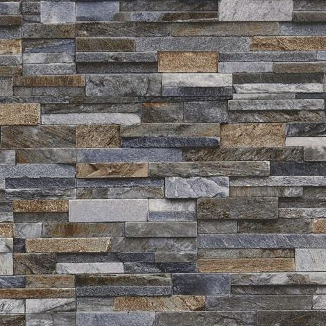 Slate Stone Brick Effect Wallpaper 3D Vinyl Textured Grey Bronze Brown Blue